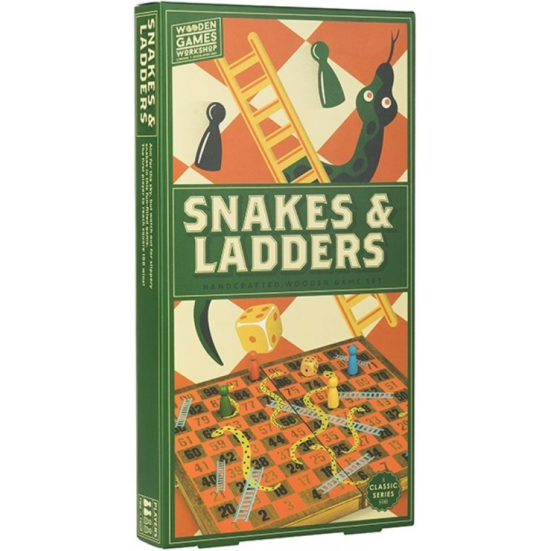 WOODEN GAME SNAKES-LADDERS
